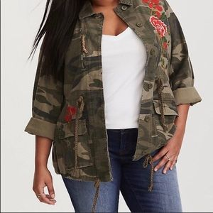 Torrid Camouflage Floral Embroidered Jacket 1X